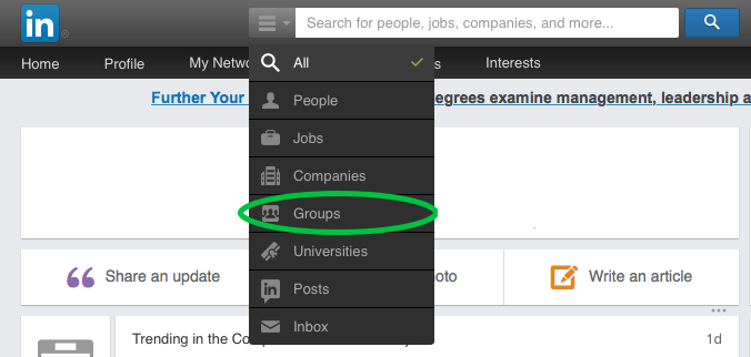 searching for LinkedIn groups