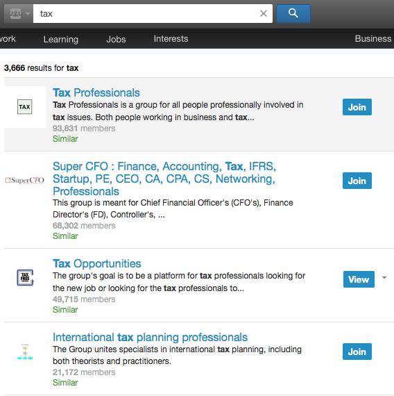 tax LinkedIn groups
