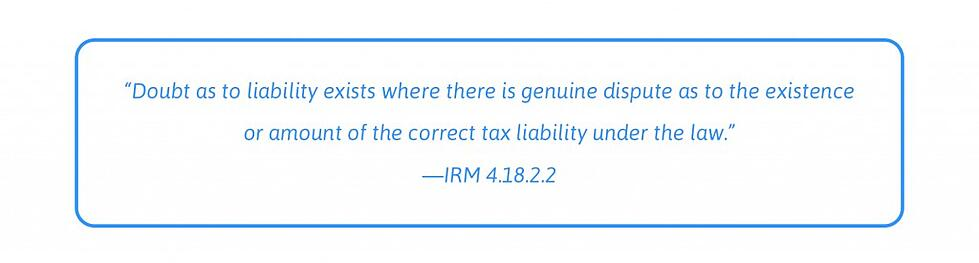 doubt as to liability definition IRM