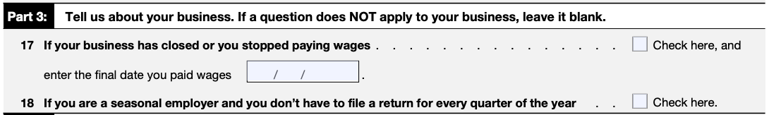 IRS Form 941 Part 3