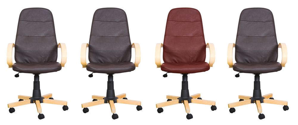 business leather chairs - stand out from the crowd Clipping path of the red backrest so you can change the colour of it easily.