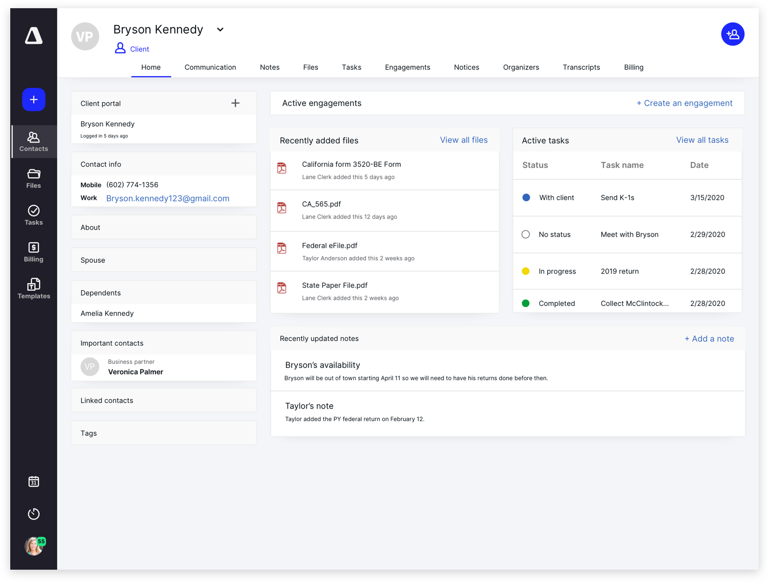 Canopy CRM and Communication Screenshot