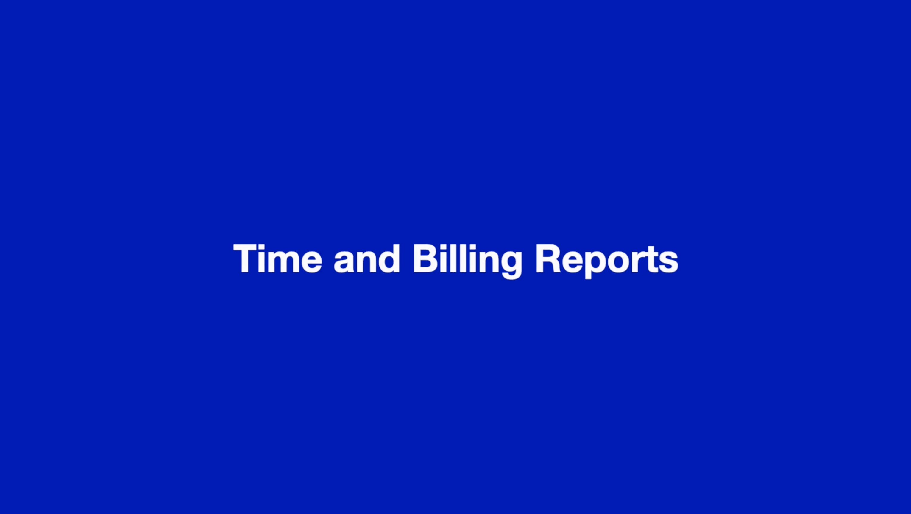 Time and Billing Reports thumbnail