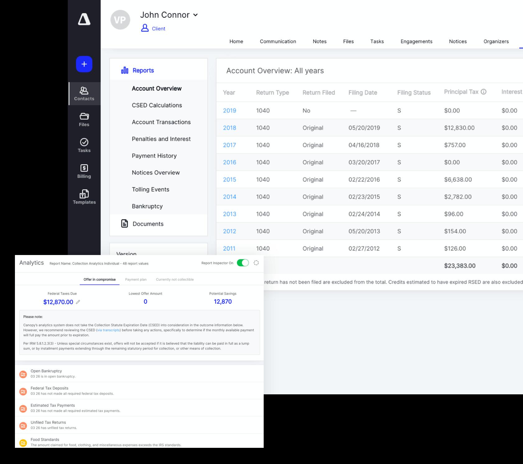 Screenshot of tax resolution software platform, Canopy.